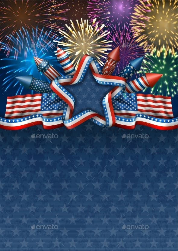 Fourth Of July Background With Fireworks By Djahan Graphicriver