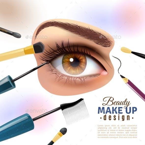Eye Makeup Blurred Background Poster - Backgrounds Decorative