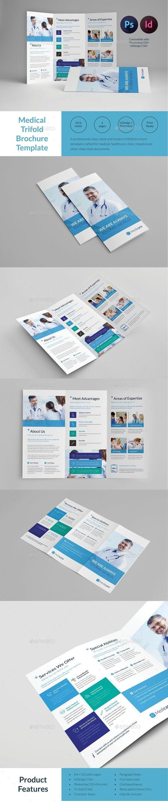 medical trifold brochure template informational brochures