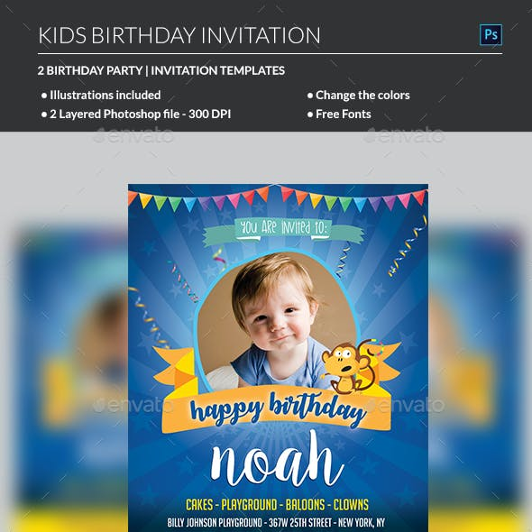 kids birthday invitation graphics designs templates