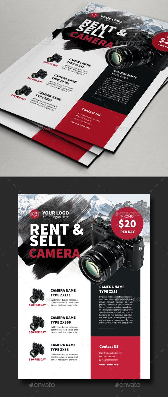 rent sell camera flyer template by comodensis graphicriver