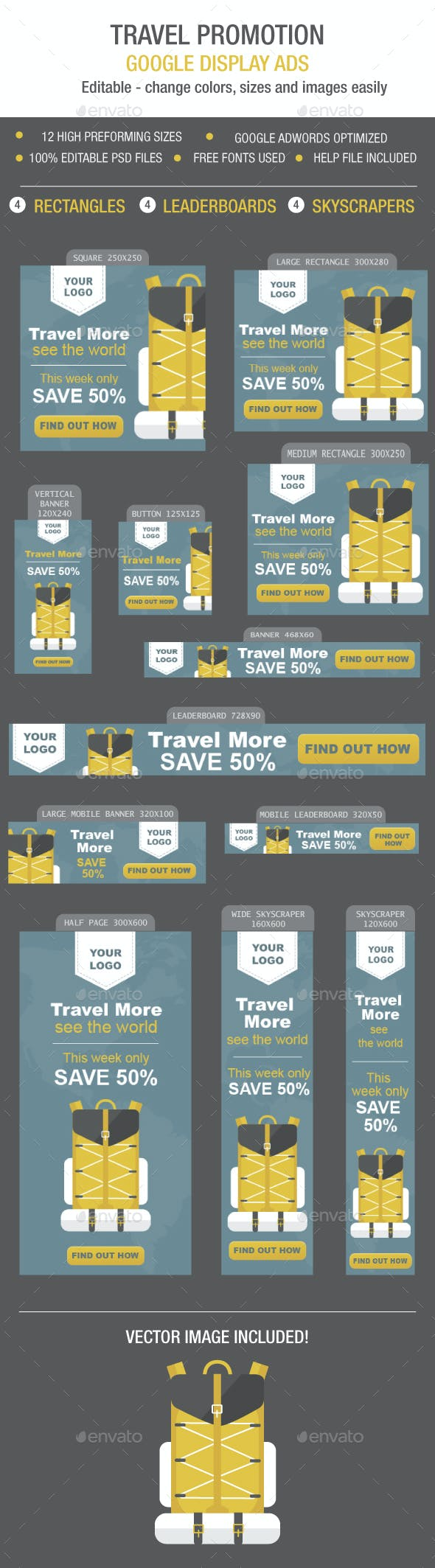 Travel Promotion Banners Decorative Light Banners
