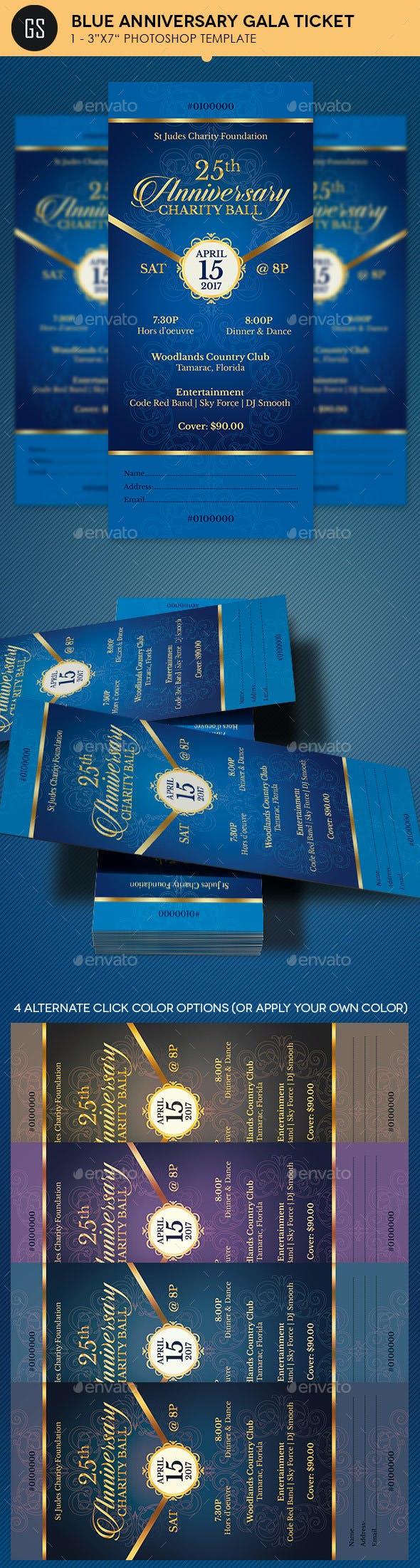 Blue Anniversary Gala Ticket Template