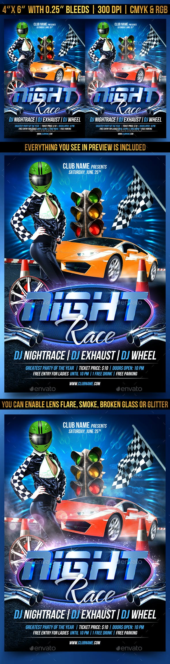 night race flyer template by gugulanul graphicriver