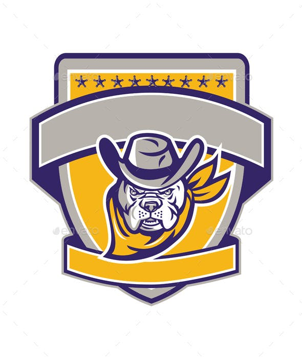 Bulldog Sheriff Cowboy Head Shield Retro By Patrimonio Graphicriver