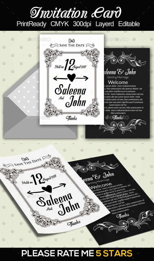 double sided invitation cards by designhub719 graphicriver