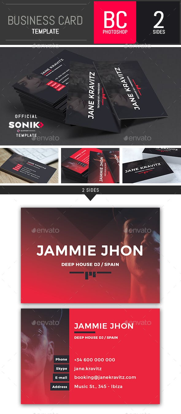 Sonik Dj And Musician Business Card Photoshop Template By Dogmadesign