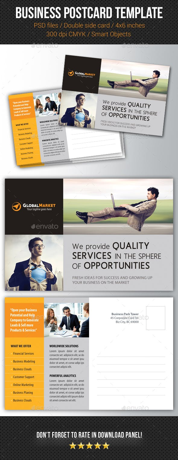 Corporate Business Postcard Template V15 By Rapidgraf Graphicriver