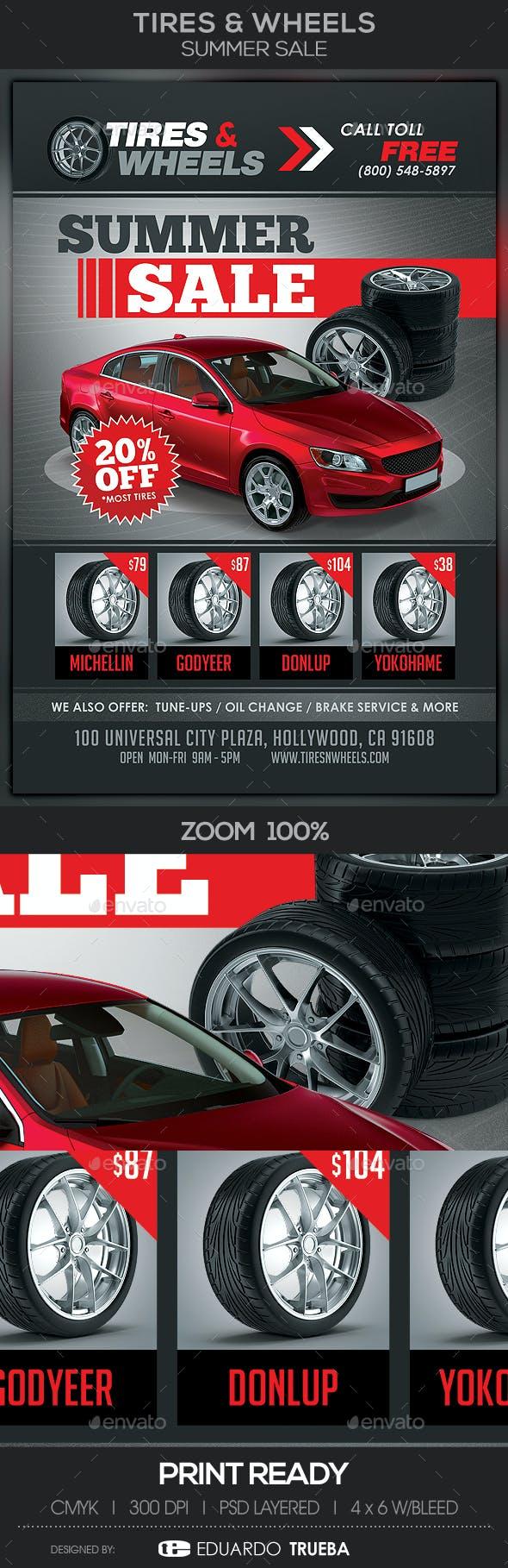 tires wheels summer sale flyer template by eduardotrueba