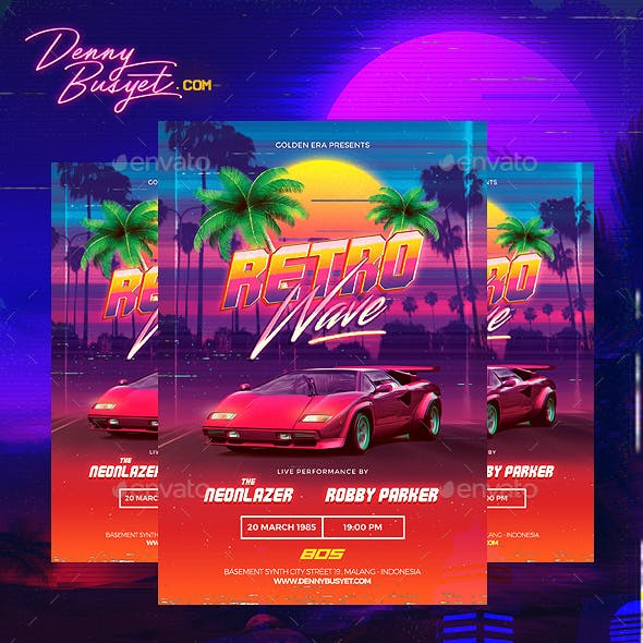 Retrowave 80's Synthwave Flyer by dennybusyet | GraphicRiver