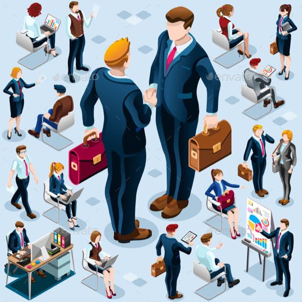 Isometric Business People Icon Isolated Set Vector