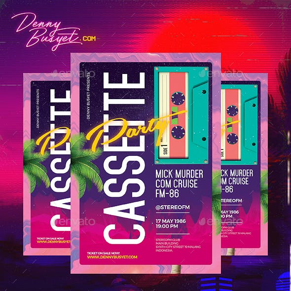 Cassette Party Retro 80's Synthwave Flyer by dennybusyet | GraphicRiver