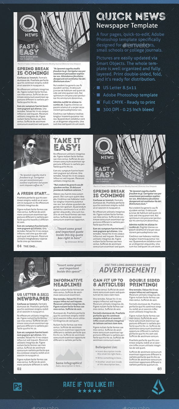 Quick Newspaper Template 4 Pages Journal Newsletter By Stormdesigns