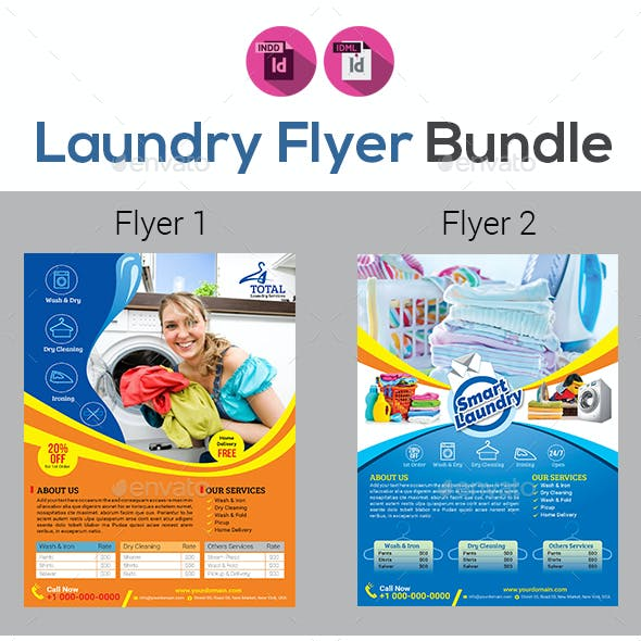laundry dry cleaning services flyer bundle v2