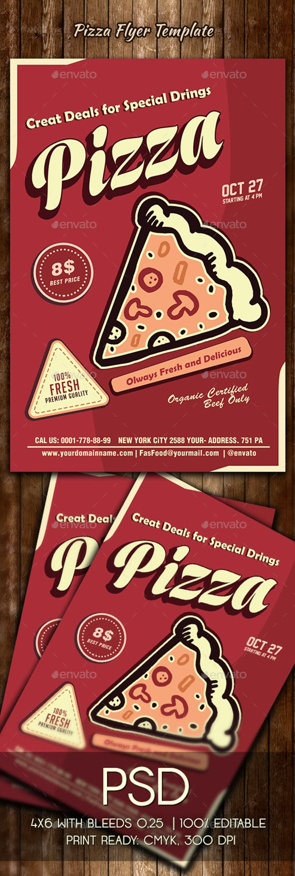 pizza flyer template by colorfuldesign graphicriver