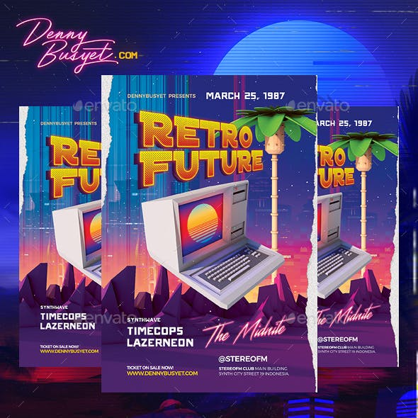 Retro Future 80's Synthwawve Flyer by dennybusyet | GraphicRiver