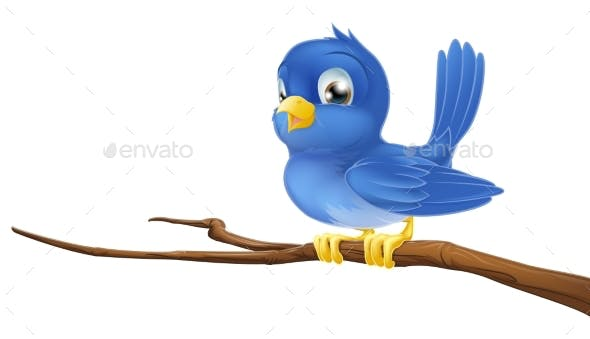 Bluebird On Tree Branch By Krisdog Graphicriver