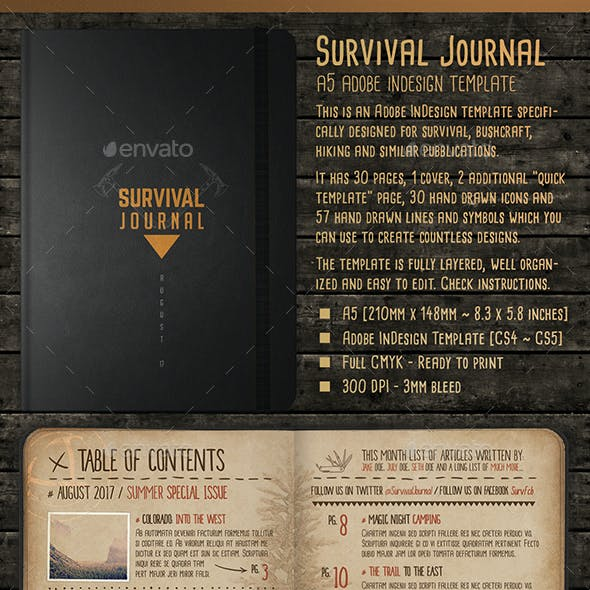 survival journal template a5 indesign outdoor diary by stormdesigns