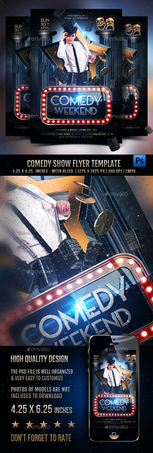 Comedy Show Flyer Template By Rembassio Graphicriver