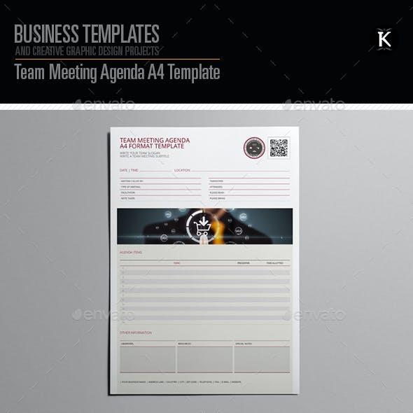 Team Meeting Agenda A4 Template