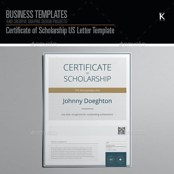 Certificate Of Scholarship US Letter Template