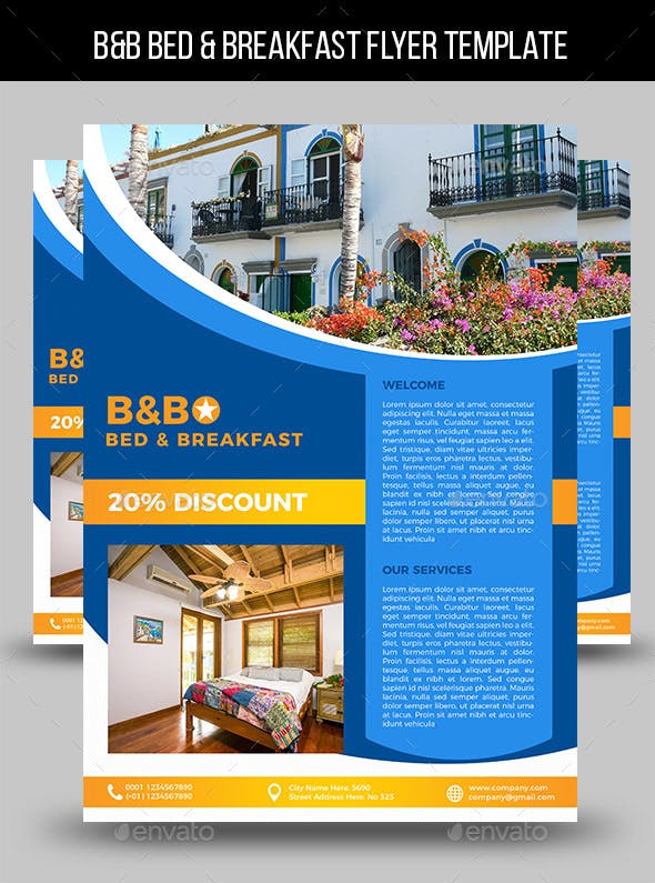 b b bed breakfast flyer template by lapabrothers graphicriver