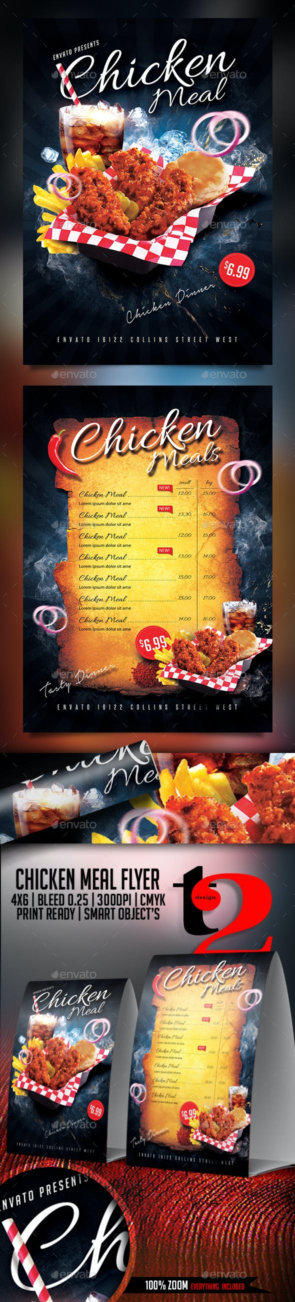 chicken meal flyer template by take2design graphicriver