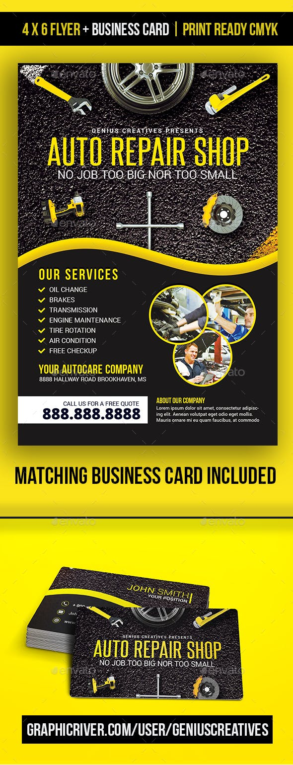 auto repair mechanic flyer template by geniuscreatives graphicriver
