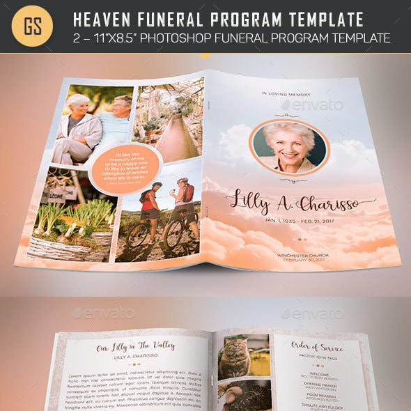 Heaven Funeral Program PSD Template