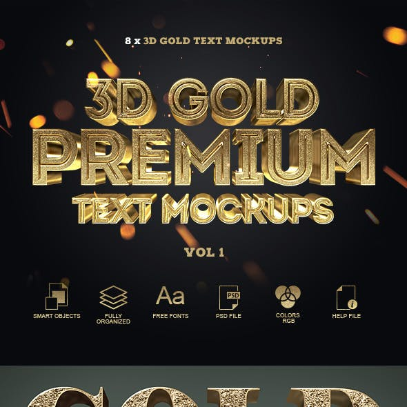 3D Gold Text Styles by PlatinumFusion | GraphicRiver