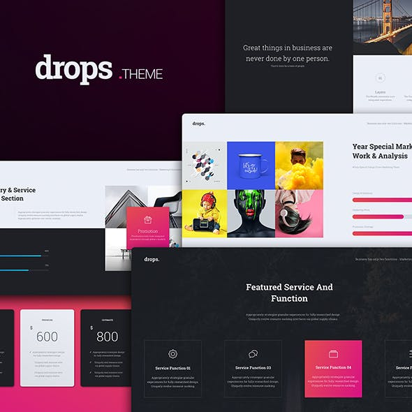 drops multipurpose creative powerpoint template by simplesmart