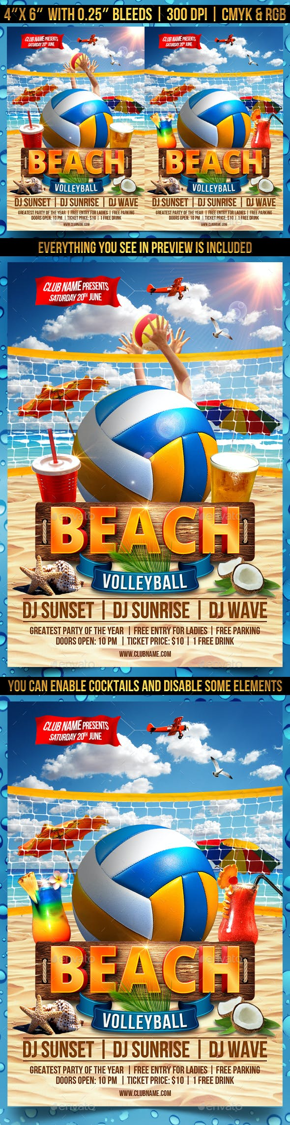 beach volleyball flyer template by gugulanul graphicriver