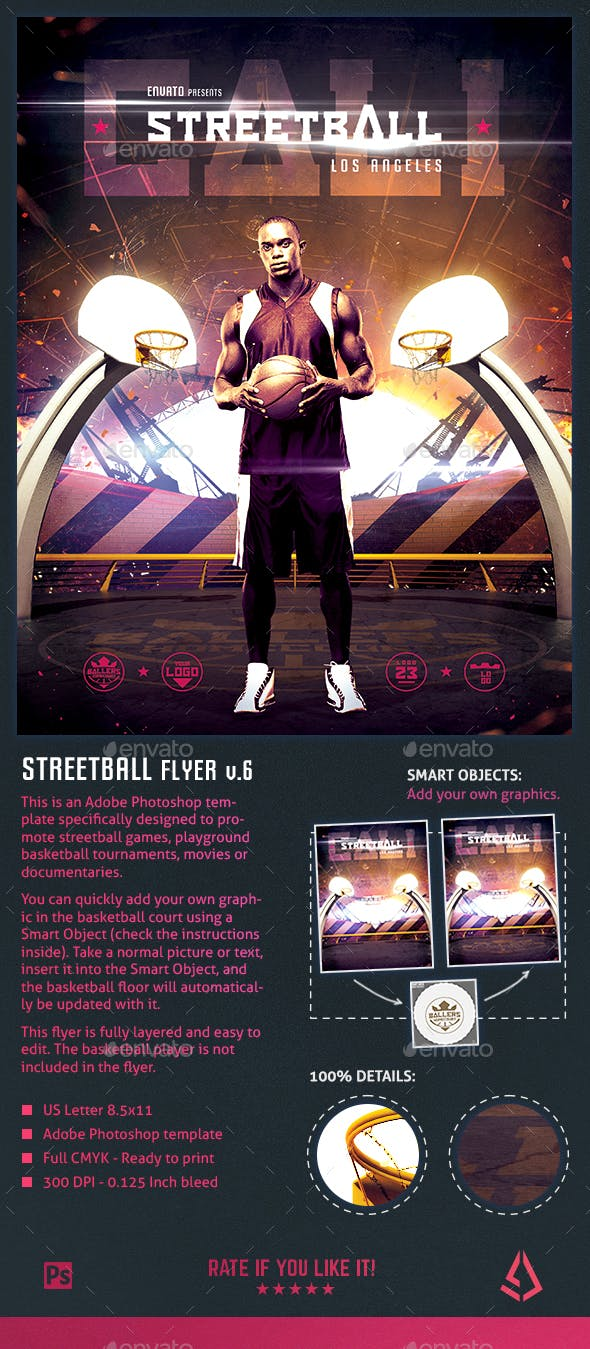Streetball Flyer Template Playground Basketball Poster V6 By