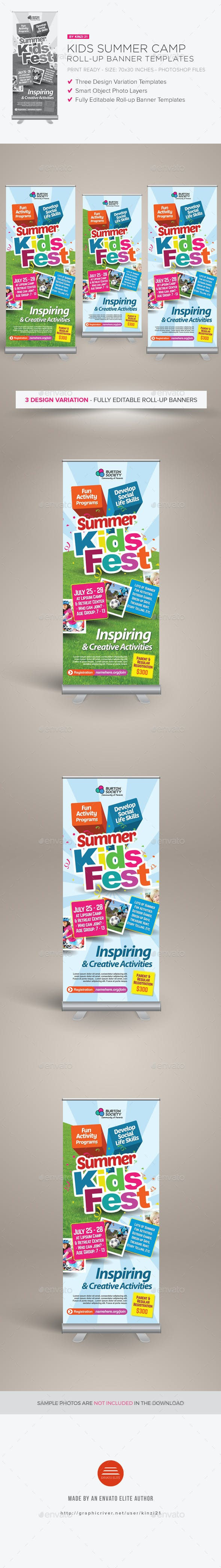 kids summer camp roll up banners by kinzi21 graphicriver