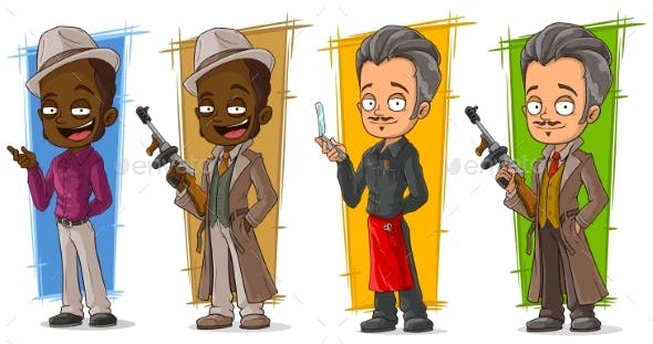 cartoon gangsters and detective character set by gb art graphicriver