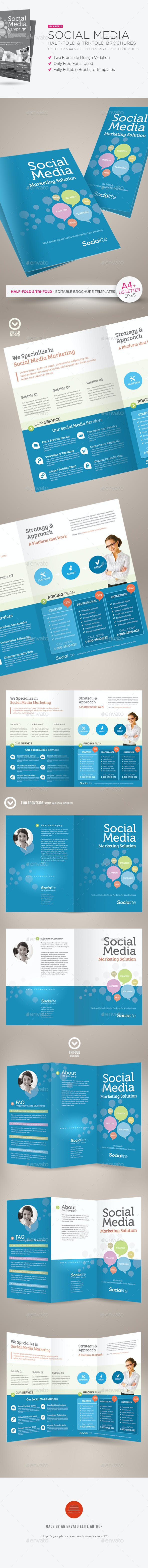 social media half fold and tri fold brochures by kinzi21 graphicriver