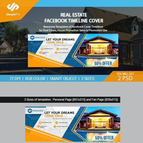 real estate facebook cover templates ar by desainpro graphicriver