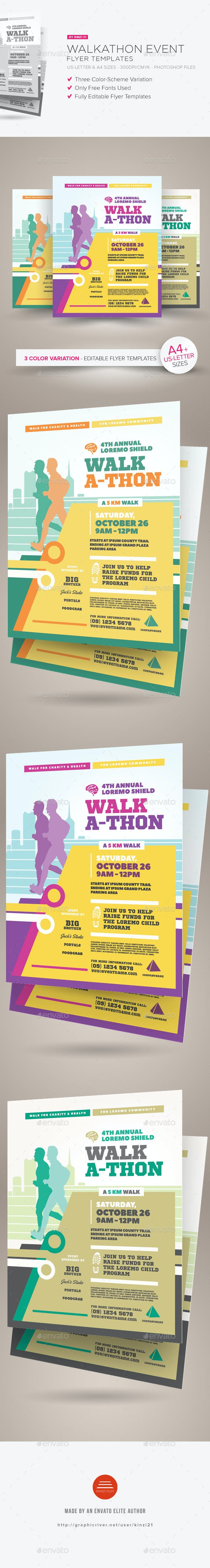 walkathon event flyer templates by kinzi21 graphicriver