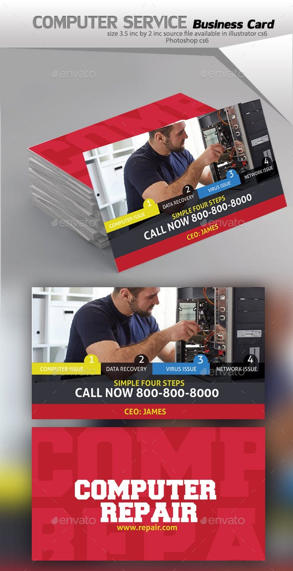 Computer Repair Service Business Card By Designcrew Graphicriver