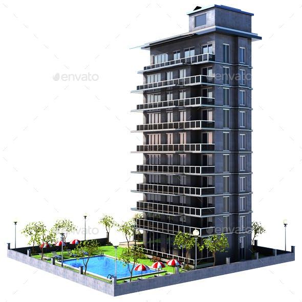 Cartoon Building Apartments Architecture Renders