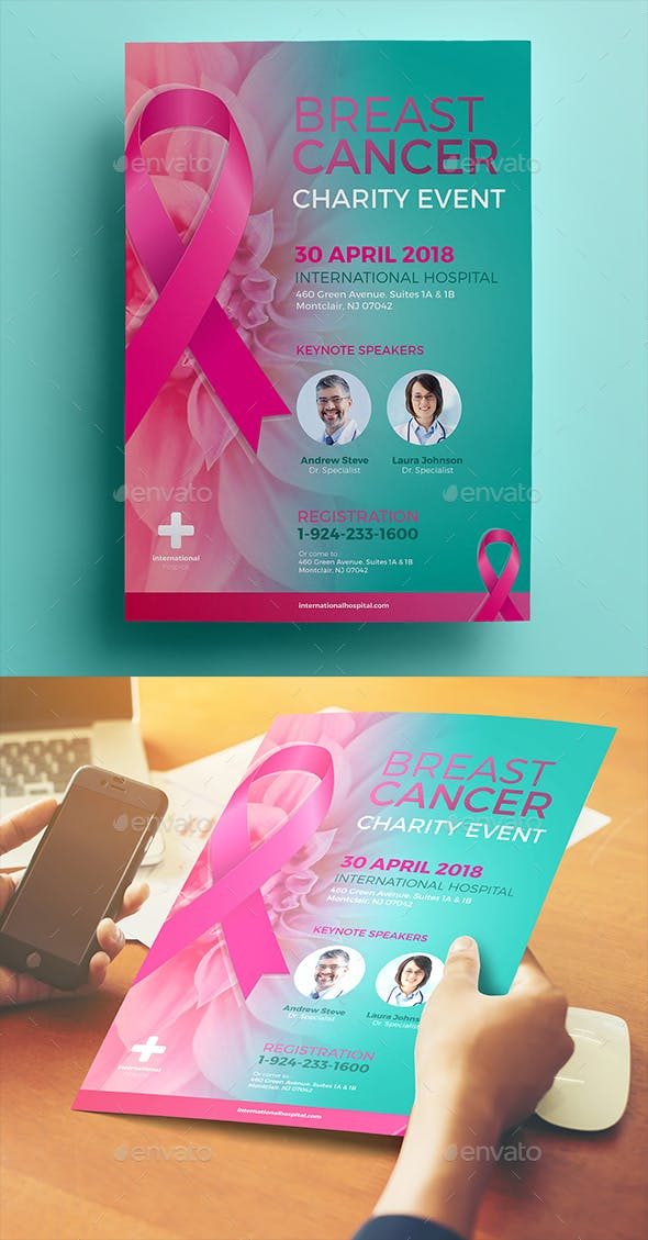 breast cancer charity flyer by aarleykaiven graphicriver