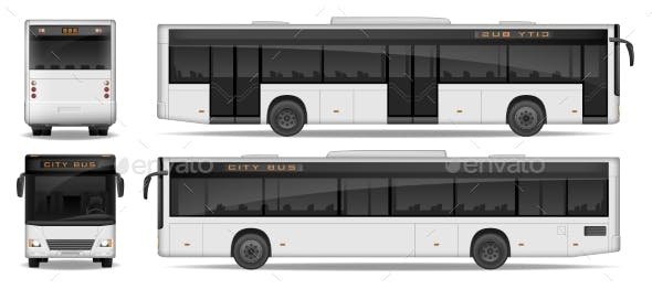 Realistic City Bus Template Isolated On White By Sergey985