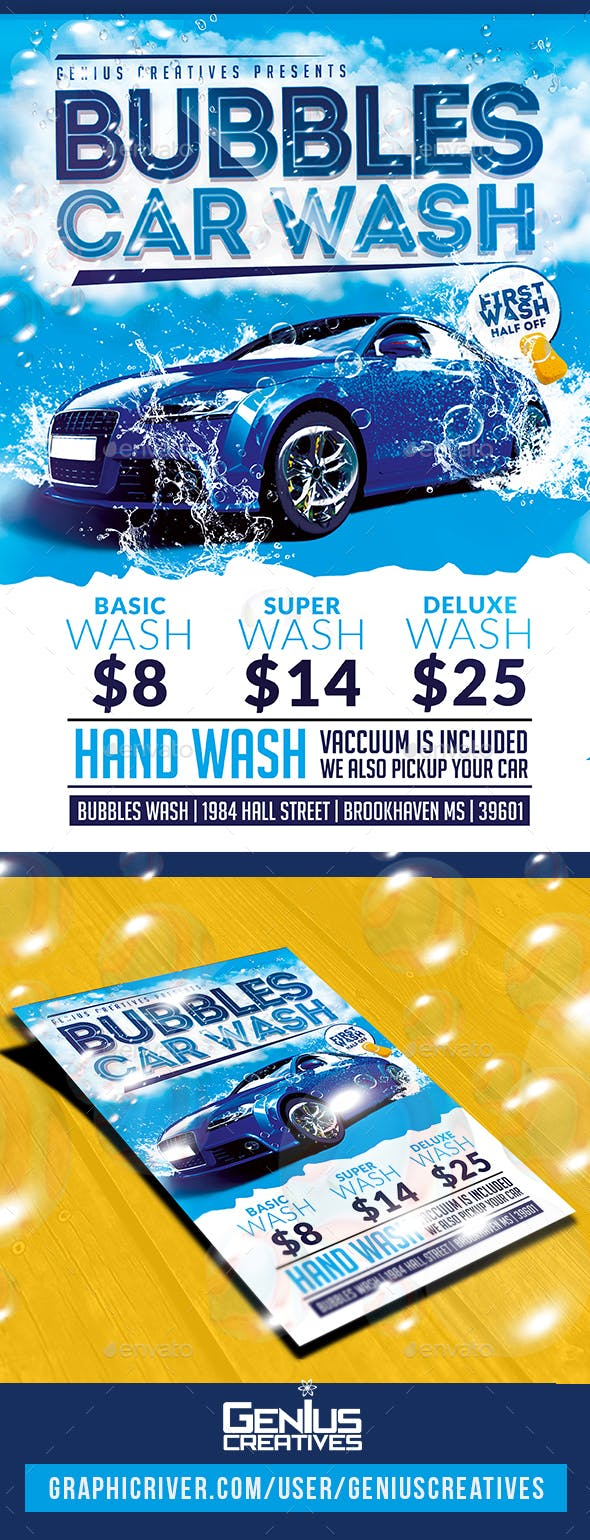 Car Wash Flyer By Geniuscreatives Graphicriver