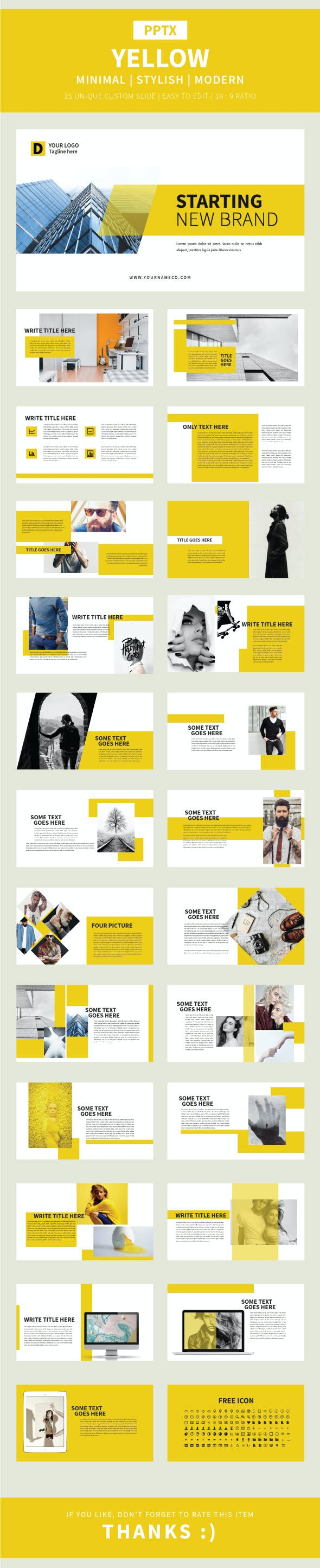 yellow pptx template by birulangit graphicriver