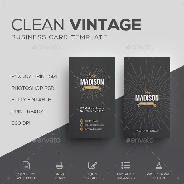 Vintage business card templates designs from graphicriver retro vintage business card template cheaphphosting Image collections