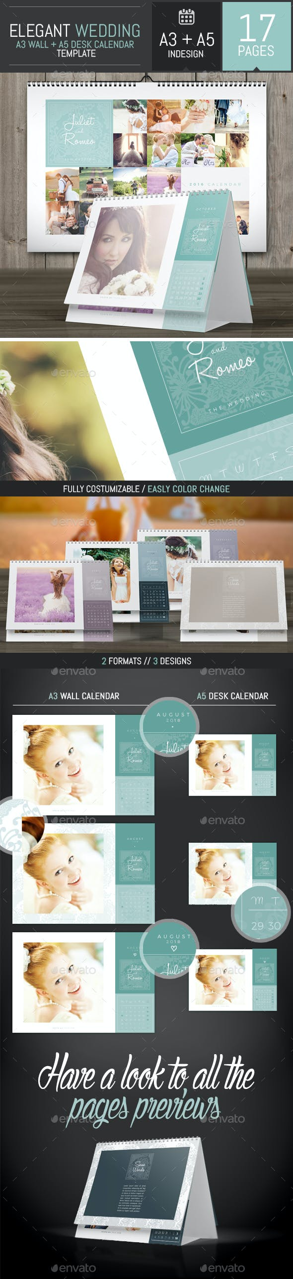 wedding a3 wall a5 desk 2018 calendar template calendars stationery