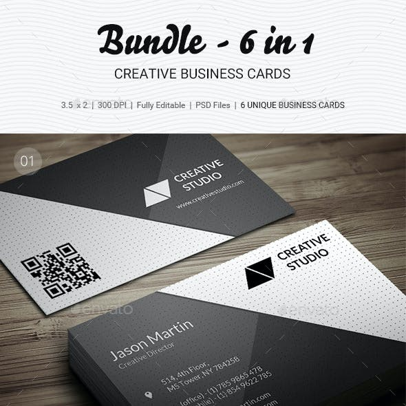 Premium creative business card templates designs page 4 pro bundle 6 in 1 business cards b33 reheart Choice Image