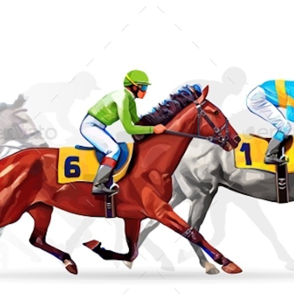 Five Racing Horses Competing With Each Other