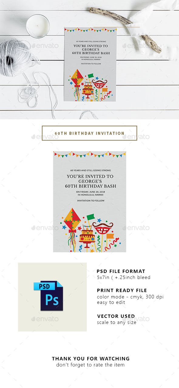 60th Birthday Party Invitation