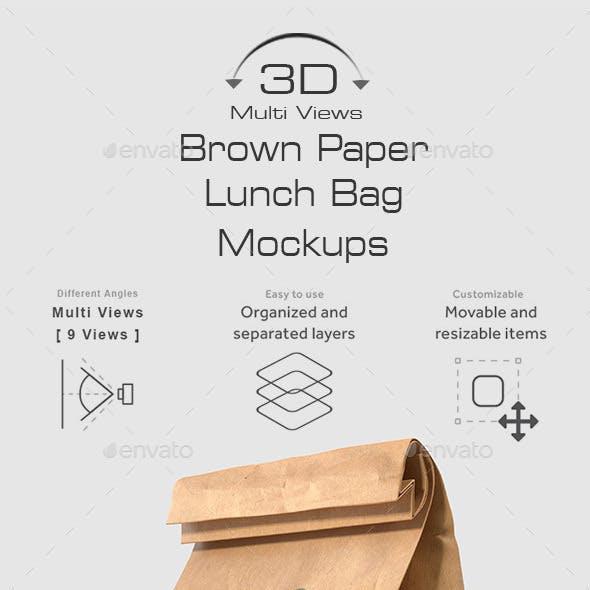 Brown Paper Lunch Bag Mockups